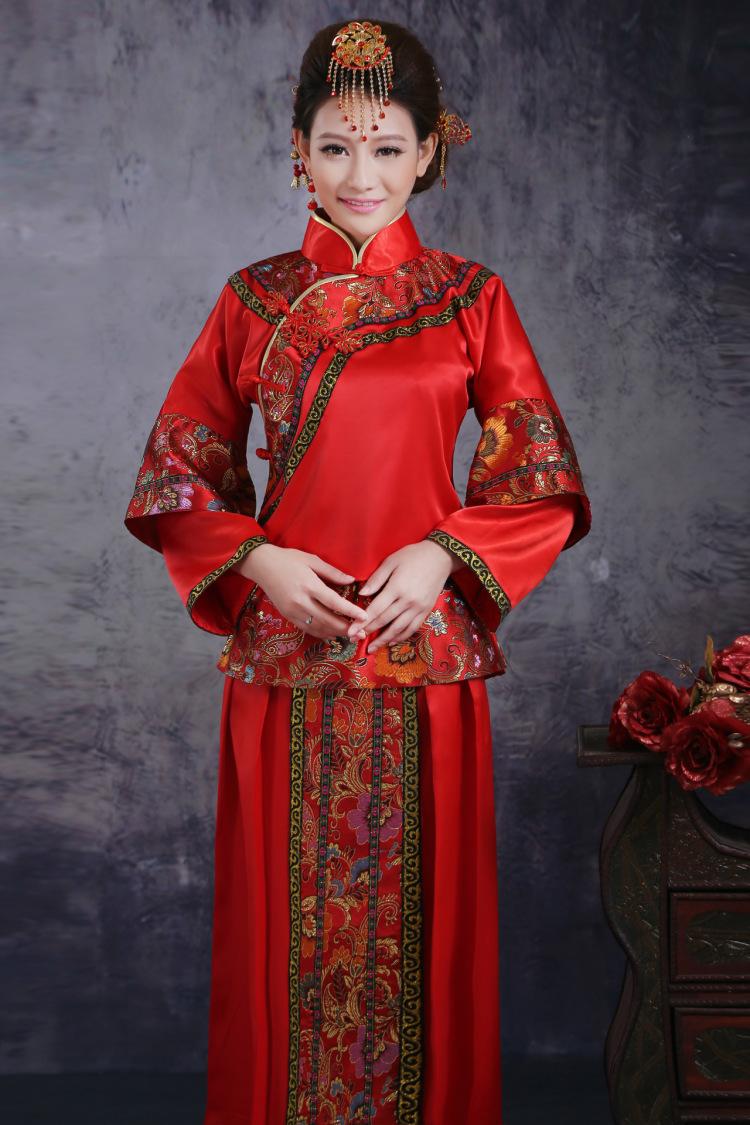 秀禾服新娘礼服 红色复古敬酒服 结婚长袖唐装 演出服