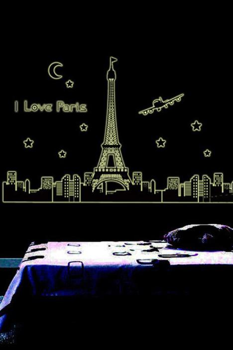 【夜光巴黎埃菲尔铁塔贴墙壁纸】-null-贴饰