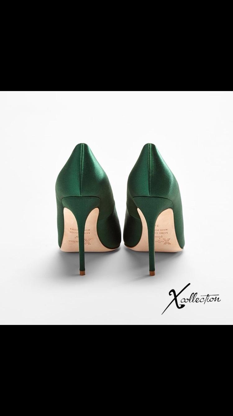 【尖头细跟祖母绿真丝高跟鞋10cm】-无类目-女鞋