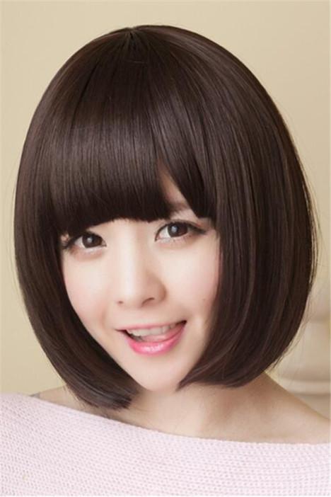 假发女短发 时尚女齐刘海波波头直发短发假发