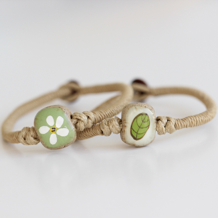 手绘【绿叶白花】情侣文艺陶瓷手链清新风小饰品首饰
