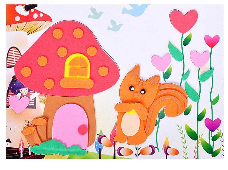 24款 儿童大号3d立体手工制作贴纸画玩具 不重复