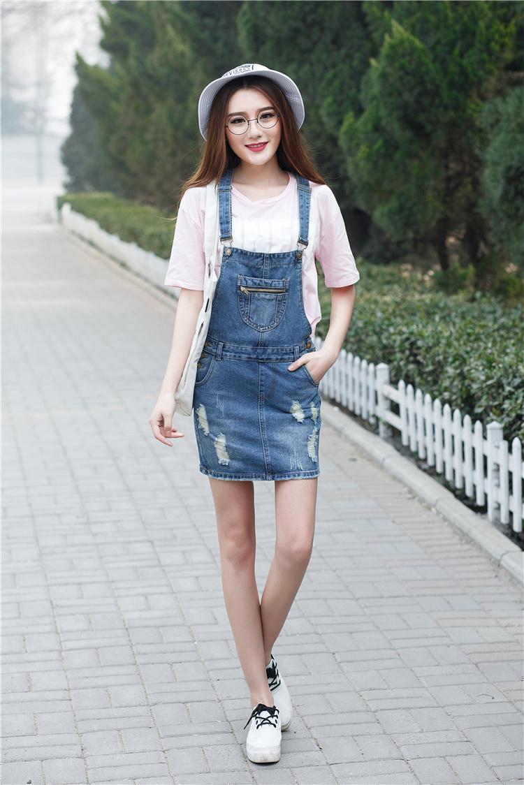 韩版宽松显瘦学院风破洞牛仔背带裙