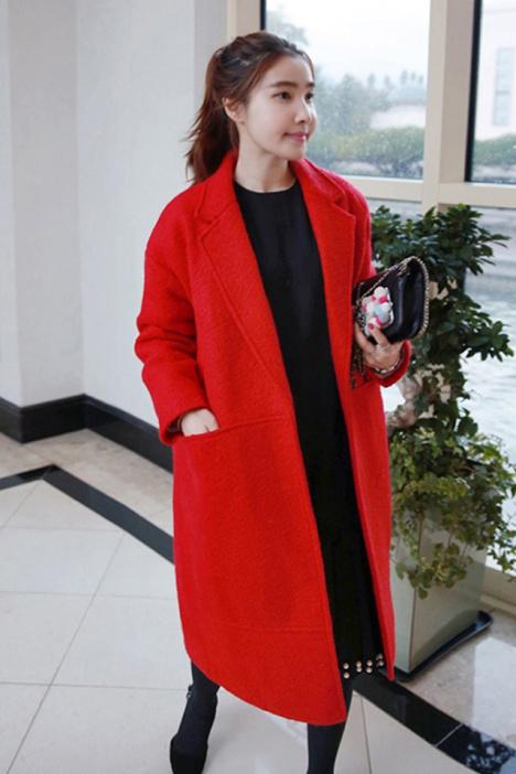韩版茧型新款大红色毛呢外套