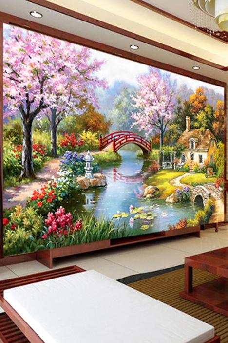 【印花十字绣新款客厅欧式油画花园小屋山水风景画绣