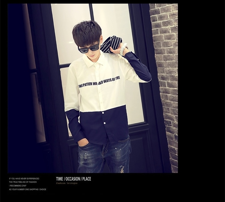 qxq 2016春季新款男生拼接英伦风时尚衬衫