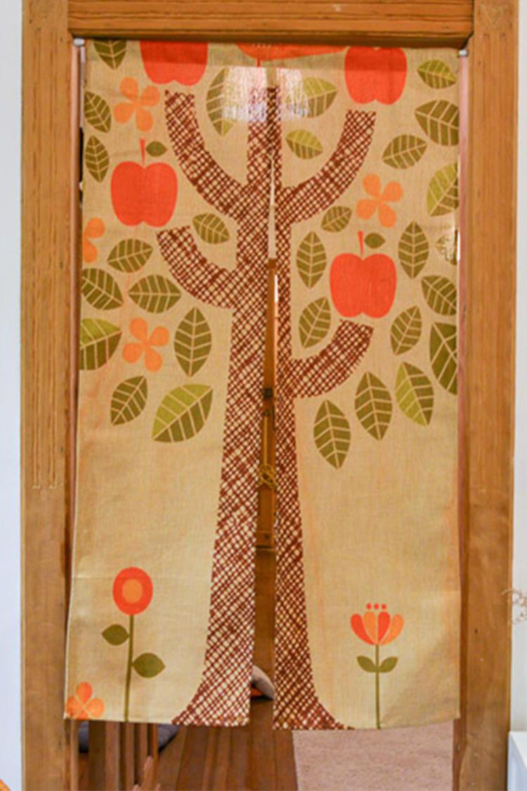 一橙 卡通棉麻手绘苹果树创意美式田园卧室布艺门帘