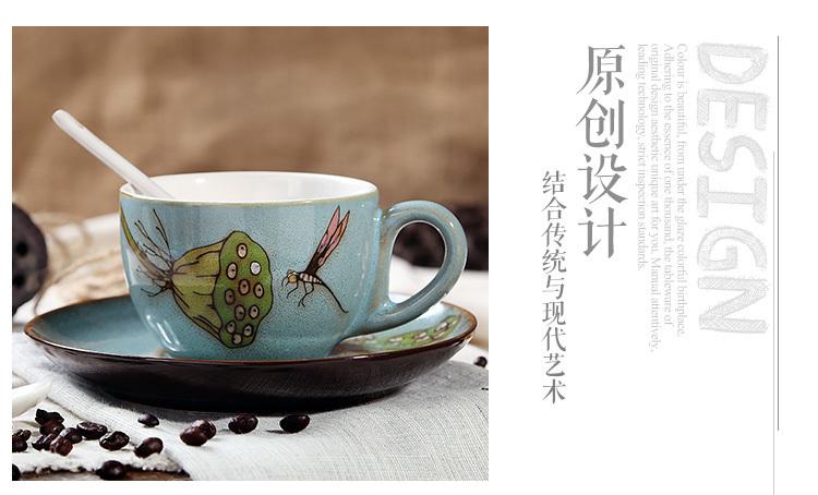 个性古风手绘特色陶瓷咖啡杯碟意式浓缩咖啡情侣杯碟文艺复古水杯