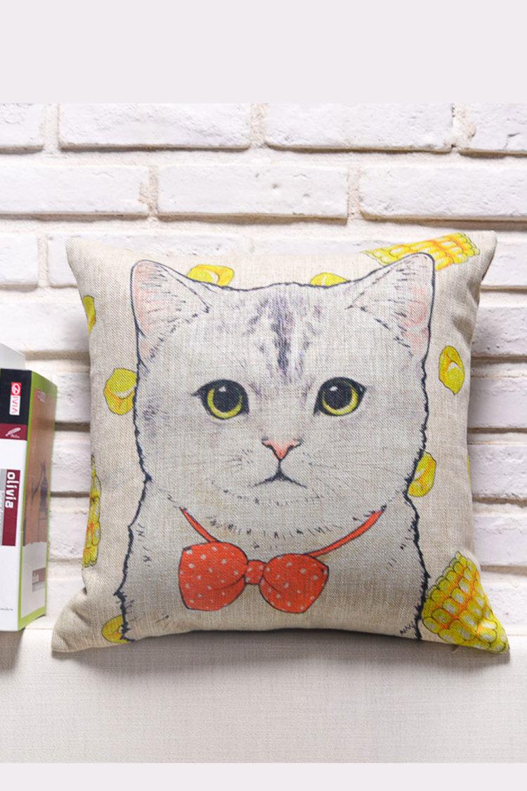 手绘动物棉麻抱枕套