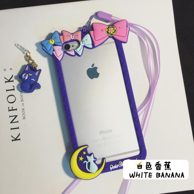 【美少女战士iphone6s露娜猫边框手机壳6p挂绳苹果6s