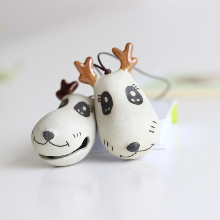 【鹿头铃铛】 手工制作陶瓷小包挂件 个性特色饰物小饰品
