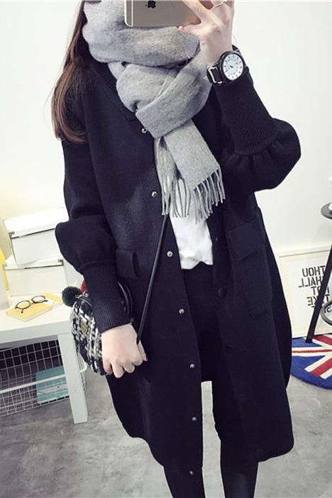 毛衣外套女冬针织衫泡泡袖女装毛线开衫韩版学生衣服加厚
