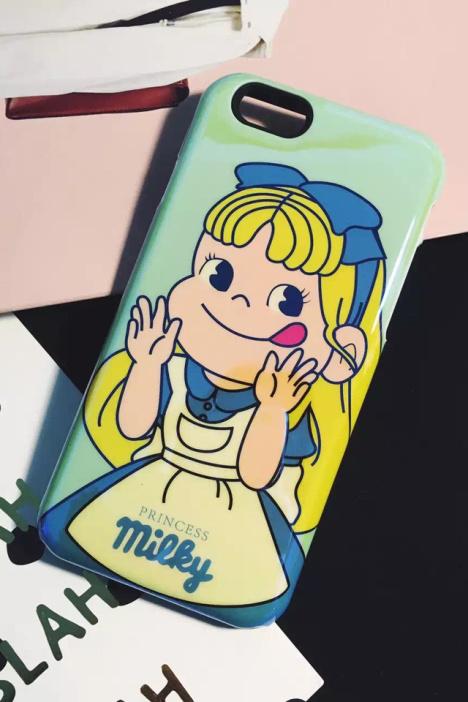 【可爱卡通牛奶妹iphone6/6s蓝光手机壳二合一苹果6