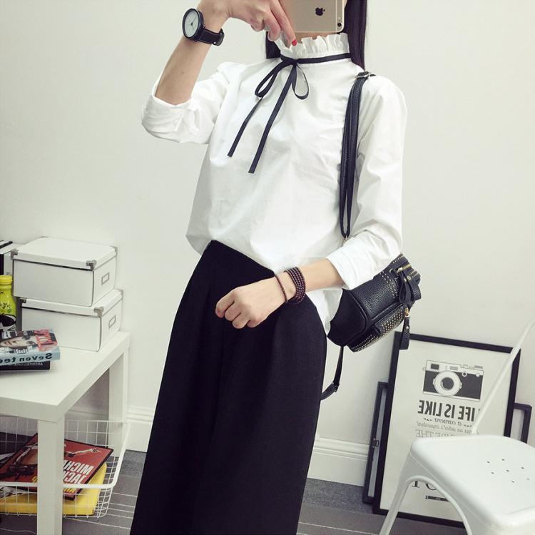 【小清新花边立领简单白衬衣】-衣服-服饰鞋包