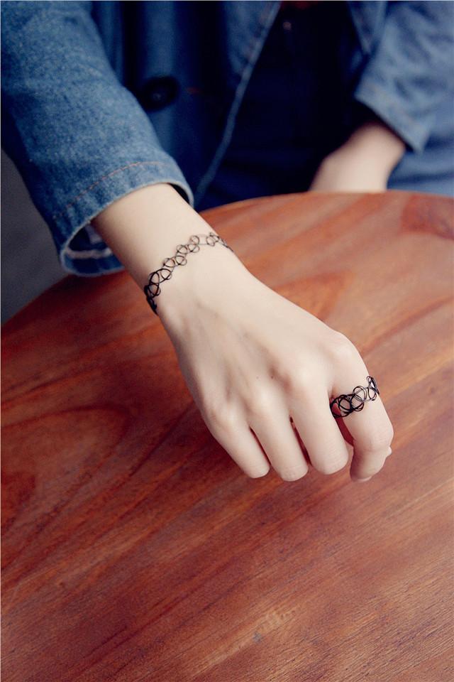 新款欧美复古韩版饰品镂空纹身编织鱼弹力混搭项链项圈手链戒指图片图片