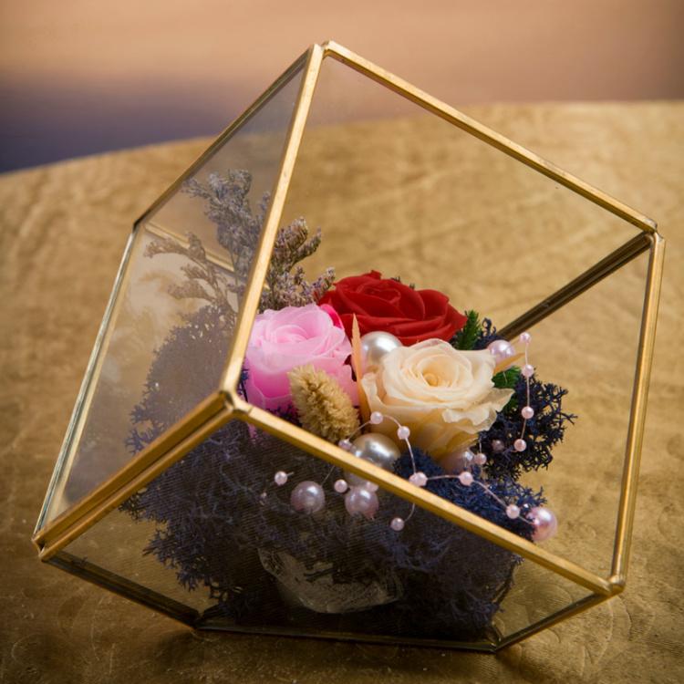 立体玻璃花房永生花玫瑰礼盒唯美萌萌可爱 生日礼物 情人节礼物
