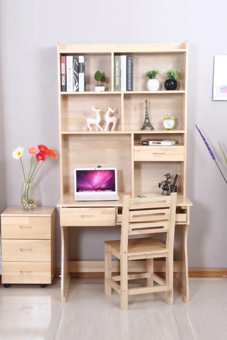 【实木电脑桌台式家用办公桌简约学生写字桌书桌电脑