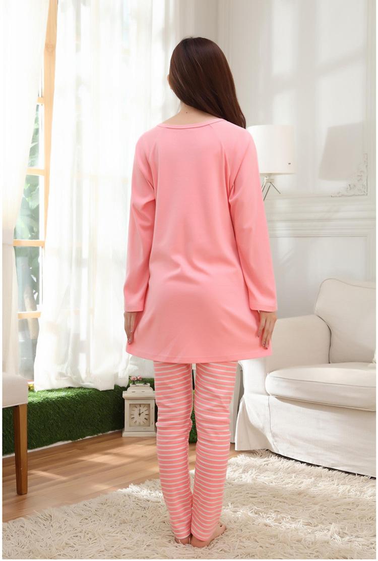 春秋季韩版甜美纯棉长袖女士睡衣加大码女人可爱家居服可外穿套装