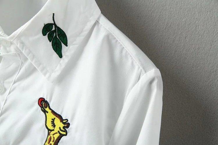 【长颈鹿吃树叶刺绣衬衫】-衣服-服饰鞋包_女装_上装
