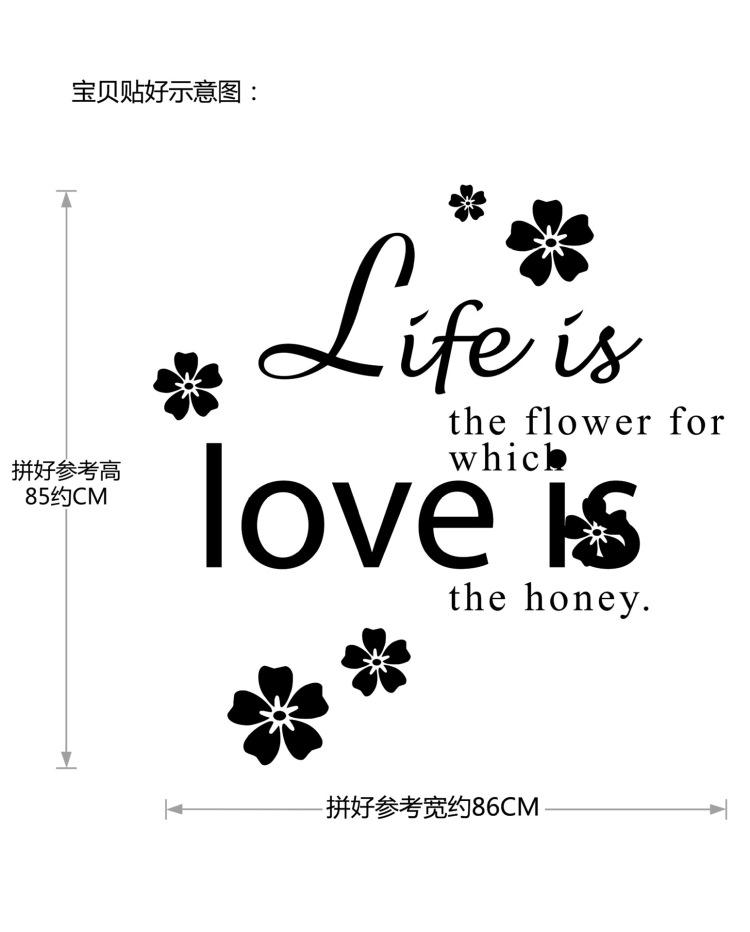 【创意黑色英文字体生活如花装饰贴纸】-家居-贴饰