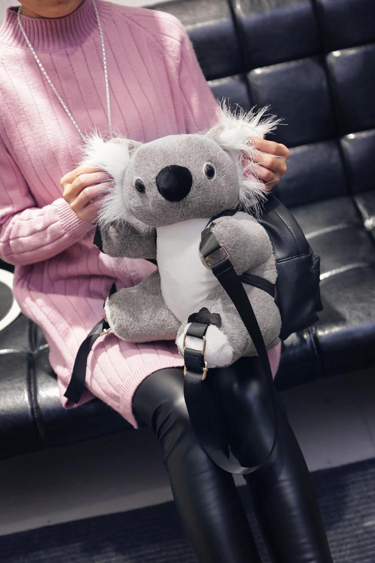 【新品考拉可爱抓绒卡通双肩包】-包包-双肩包