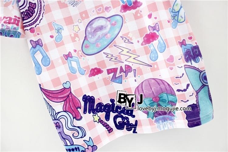 韩版原宿风卡通可爱彩虹小马女生宽松百搭短袖t恤