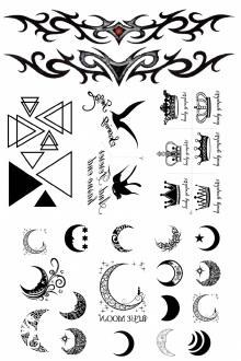 月亮皇冠几何图案纹身贴 手臂图腾 燕子个性刺青 防水
