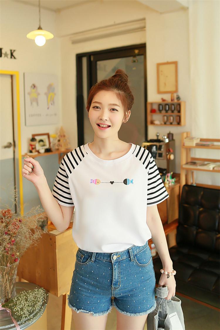夏季新款纯棉短袖t恤条纹袖两只小鱼上衣打底