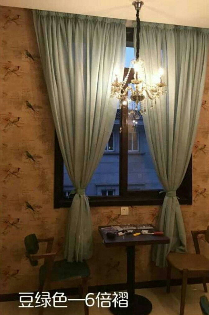 【纯色落地窗帘 白纱飘窗阳台美式纱帘隔断窗纱窗帘
