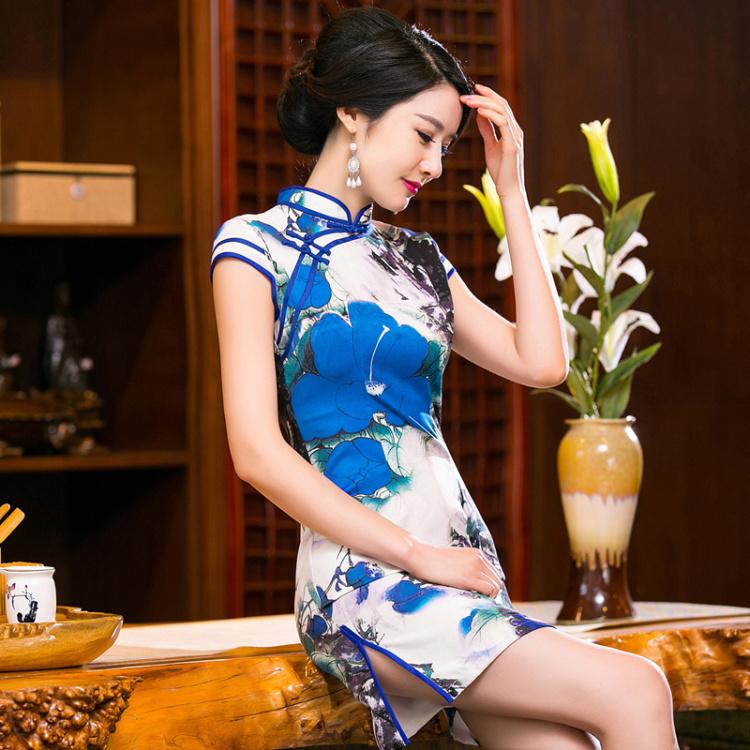 2016新款优雅文艺改良短旗袍