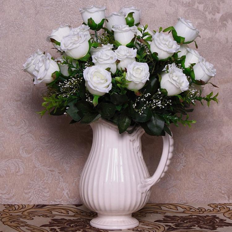 【格瑞欧式客厅餐桌花瓶老式电视柜摆件酒柜仿真花】