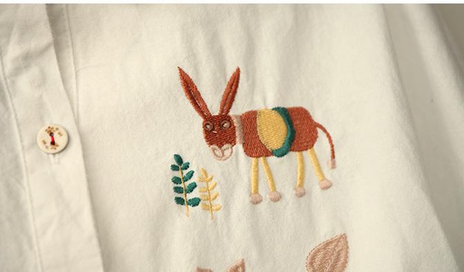 【森系童趣刺绣动物森林小松鼠猫头鹰宽松棉麻长袖】