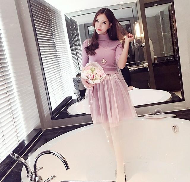 半高领针织衫 网纱吊带裙套装