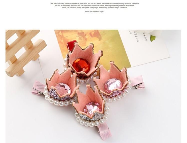 韩国儿童发夹韩版珍珠小皇冠卡子发卡公主立体发饰头饰品
