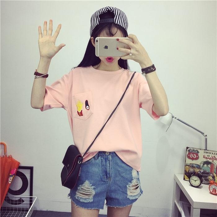 【喵喵家韩版口袋薯条卡通头像刺绣t恤】-衣服-服饰