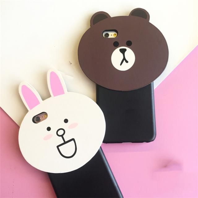 【(买二送一)韩国卡通兔子情侣小熊iphone6s手机壳】