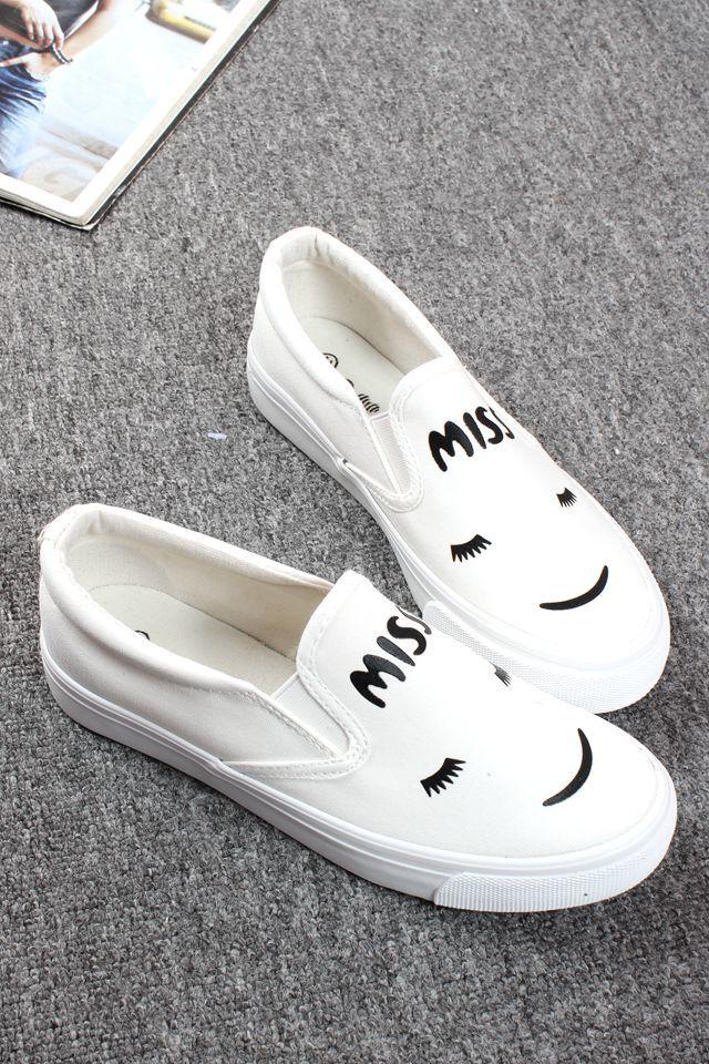 梅子家 2016新款韩版笑脸图案平底帆布鞋 懒人鞋
