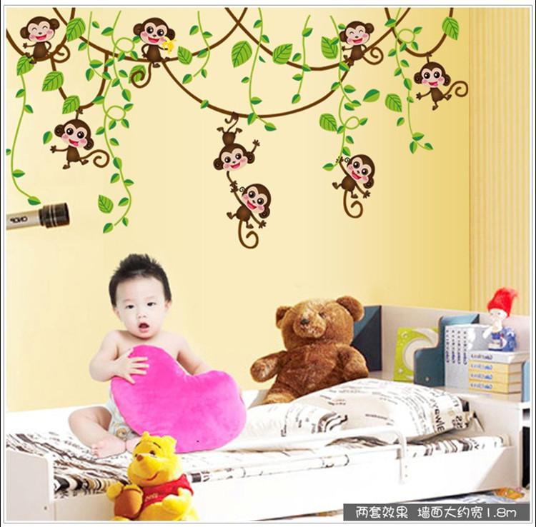 卡通儿童房墙贴 儿童贴画房屋装饰墙贴 装饰贴纸 猴子攀树