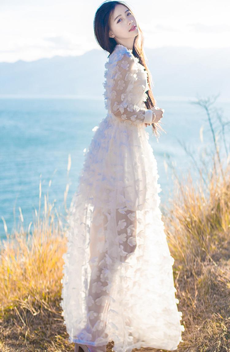 欧式宫廷复古文艺森女立体花瓣雪纺连衣裙