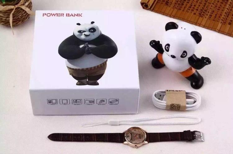 可爱功夫熊猫移动电源送手表8800毫安充电宝