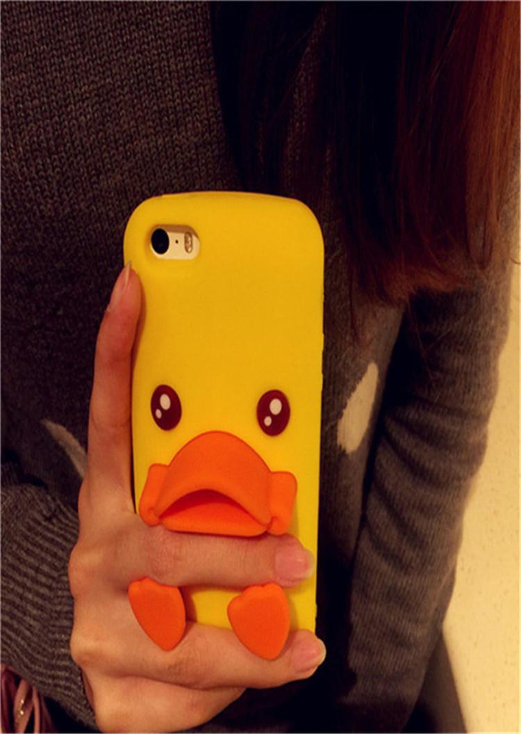 可爱立体嘟嘴小黄鸭苹果iphone6s手机壳6plus硅胶套