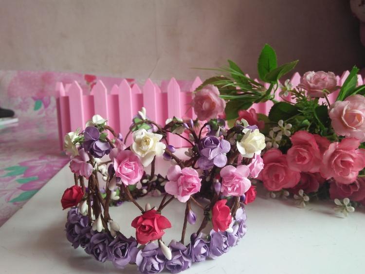 包邮森系藤条编织皇冠花朵玫瑰花环头饰新娘造型度假拍照写真发饰