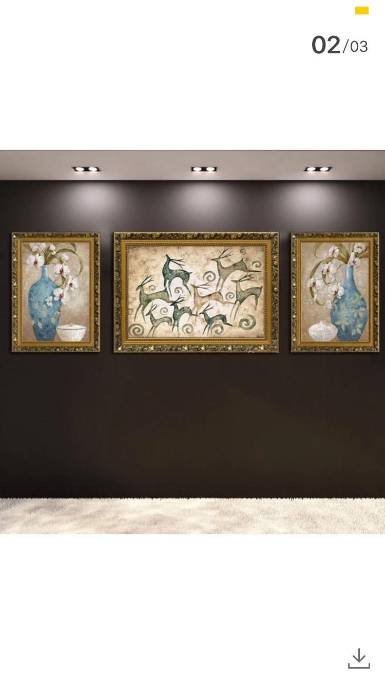 美式装饰画客厅欧式复古壁画墙壁挂画沙发背景画三联卧室油画