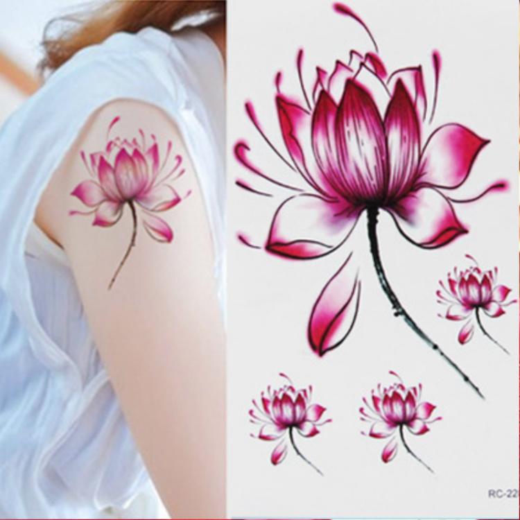 水墨纹身荷花小图案分享展示