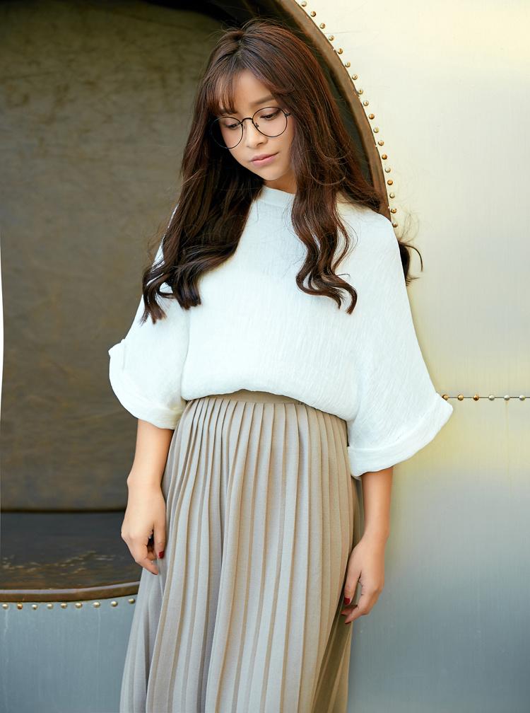新款韩版阳光麻上衣 百褶裙套装