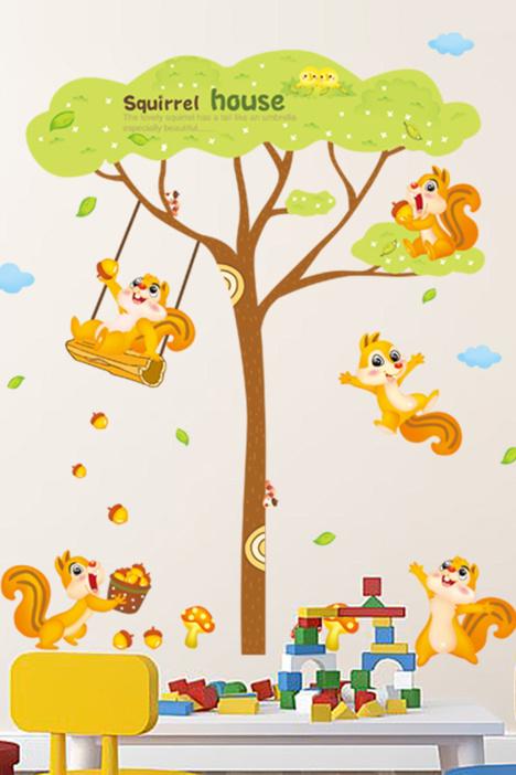 【松鼠大树卡通儿童房贴画】-家居-贴饰