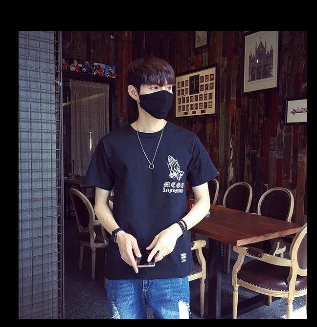 黑色烧香拜佛短袖t恤图片
