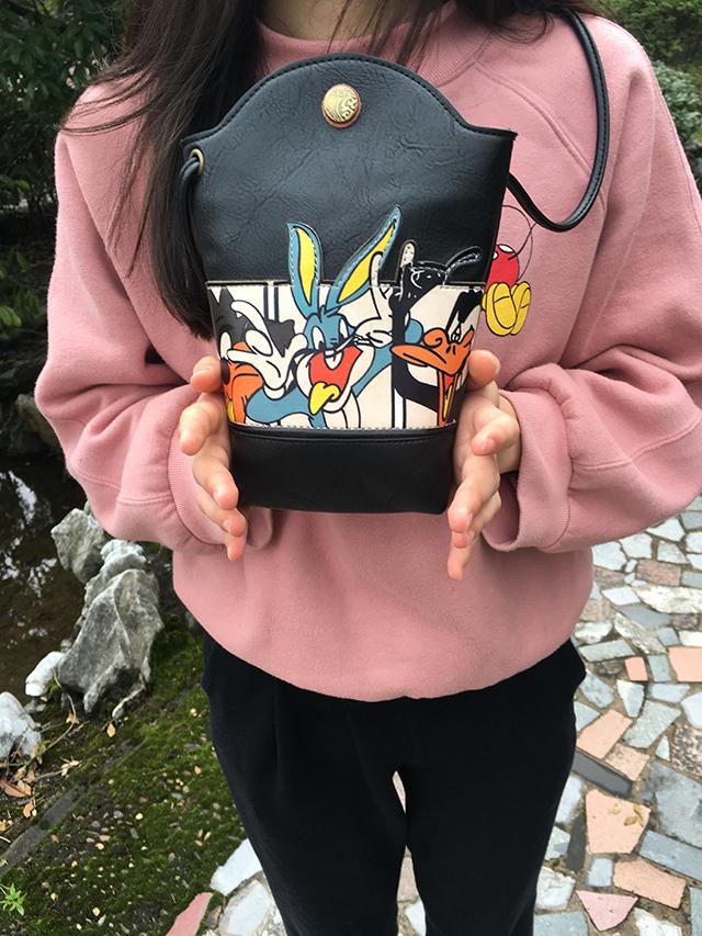 韩国卡通兔八哥印花可爱原宿风复古欧美软妹迷你女士单肩斜跨包