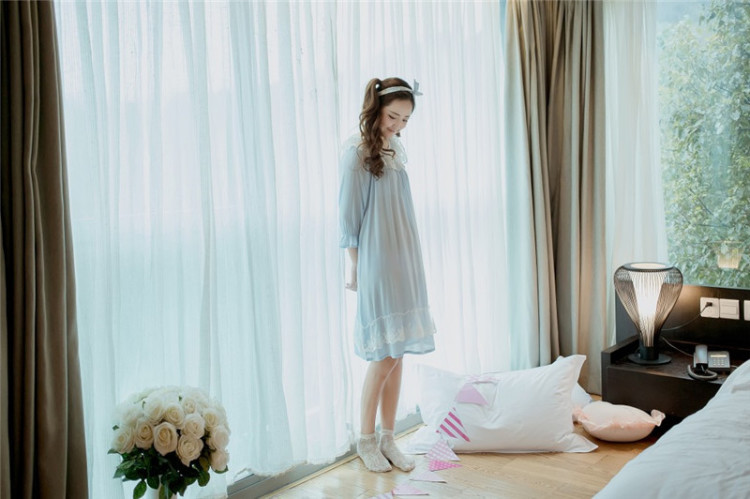 【小清新韩国花边少女睡裙】-衣服-女士内衣/家居服