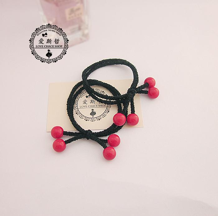 韩国进口可爱红色樱桃发绳 发饰 皮筋 发圈 小清新